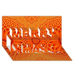 Lotus Fractal Flower Orange Yellow Merry Xmas 3d Greeting Card (8x4) by EDDArt