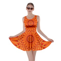 Lotus Fractal Flower Orange Yellow Skater Dress