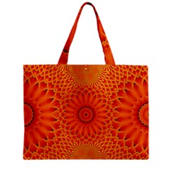 Lotus Fractal Flower Orange Yellow Zipper Mini Tote Bag by EDDArt