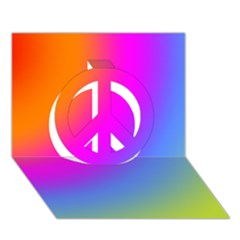 Radial Gradients Red Orange Pink Blue Green Peace Sign 3d Greeting Card (7x5) by EDDArt