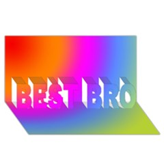 Radial Gradients Red Orange Pink Blue Green Best Bro 3d Greeting Card (8x4) by EDDArt