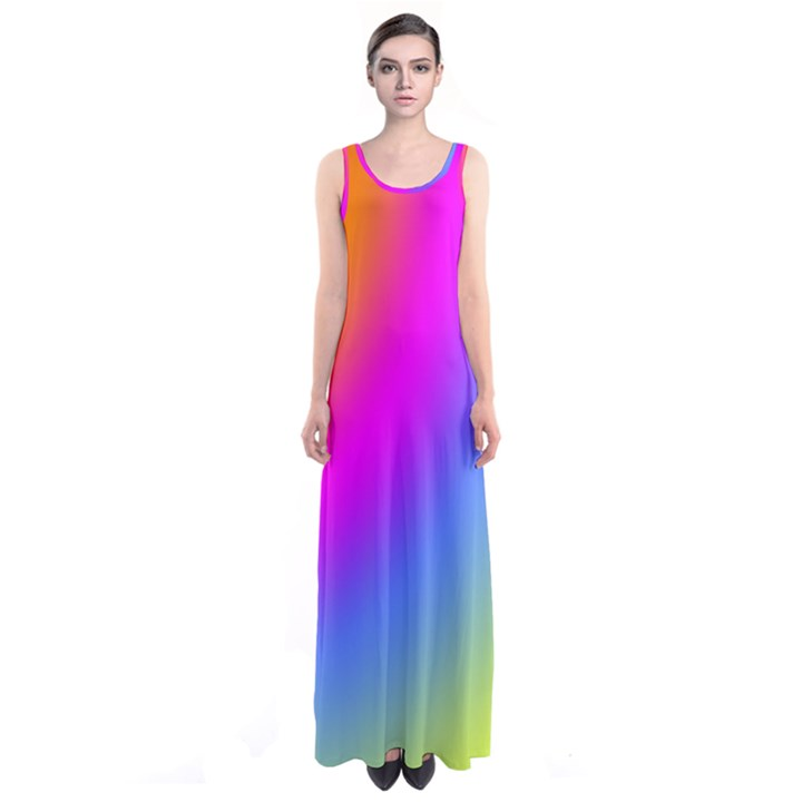 Radial Gradients Red Orange Pink Blue Green Sleeveless Maxi Dress