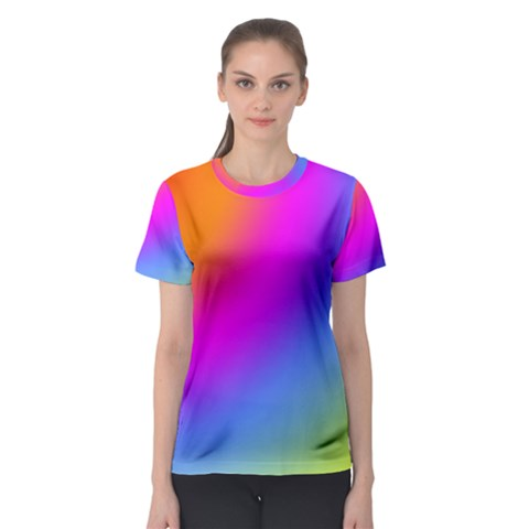 Radial Gradients Red Orange Pink Blue Green Women s Sport Mesh Tee by EDDArt