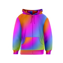 Radial Gradients Red Orange Pink Blue Green Kids  Zipper Hoodie