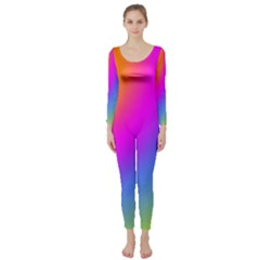 Radial Gradients Red Orange Pink Blue Green Long Sleeve Catsuit