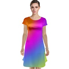 Radial Gradients Red Orange Pink Blue Green Cap Sleeve Nightdress