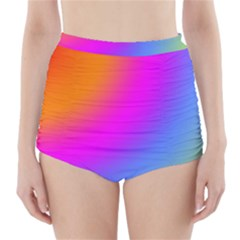 Radial Gradients Red Orange Pink Blue Green High-waisted Bikini Bottoms by EDDArt