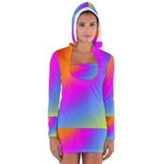 Radial Gradients Red Orange Pink Blue Green Women s Long Sleeve Hooded T-shirt by EDDArt