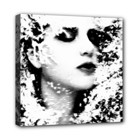 Romantic Dreaming Girl Grunge Black White Mini Canvas 8  X 8  by EDDArt