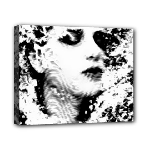 Romantic Dreaming Girl Grunge Black White Canvas 10  X 8  by EDDArt