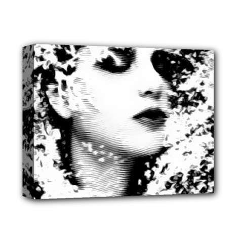Romantic Dreaming Girl Grunge Black White Deluxe Canvas 14  X 11  by EDDArt