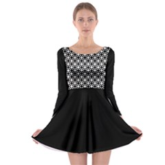 Modern Dots In Squares Mosaic Black White Long Sleeve Skater Dress by EDDArt