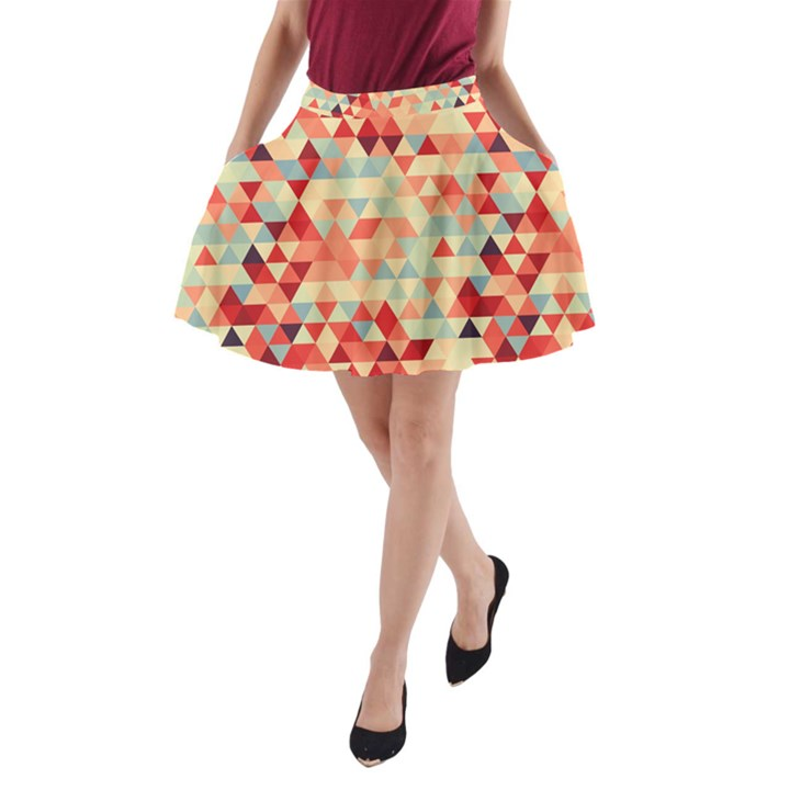 Modern Hipster Triangle Pattern Red Blue Beige A-Line Pocket Skirt