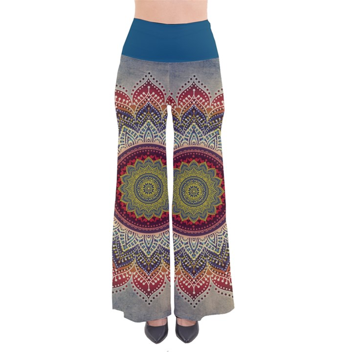 Folk Art Lotus Mandala Dirty Blue Red Women s Chic Palazzo Pants