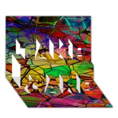 Abstract Squares Triangle Polygon Take Care 3d Greeting Card (7x5)
