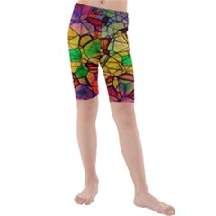 Abstract Squares Triangle Polygon Kids  Mid Length Swim Shorts by AnjaniArt