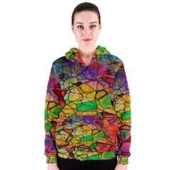 Abstract Squares Triangle Polygon Women s Zipper Hoodie by AnjaniArt