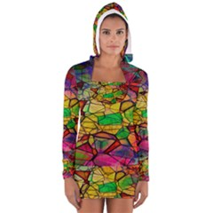 Abstract Squares Triangle Polygon Women s Long Sleeve Hooded T-shirt by AnjaniArt