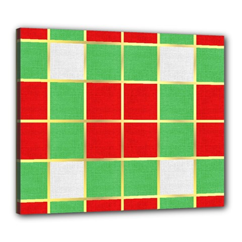 Christmas Fabric Textile Red Green Canvas 24  X 20