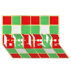 Christmas Fabric Textile Red Green Believe 3d Greeting Card (8x4)