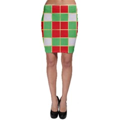Christmas Fabric Textile Red Green Bodycon Skirt