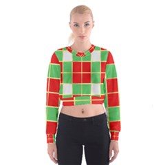 Christmas Fabric Textile Red Green Women s Cropped Sweatshirt