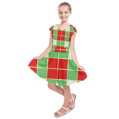 Christmas Fabric Textile Red Green Kids  Short Sleeve Dress