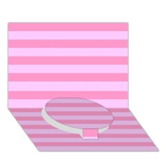Fabric Baby Pink Shades Pale Circle Bottom 3d Greeting Card (7x5) by AnjaniArt