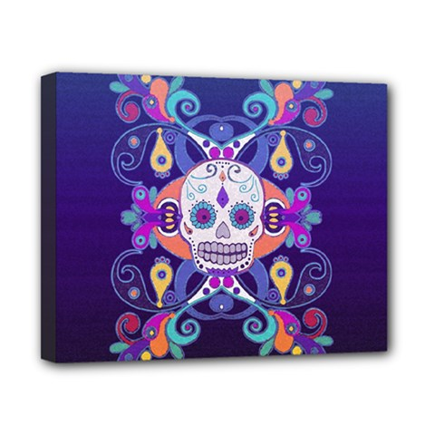Día De Los Muertos Skull Ornaments Multicolored Canvas 10  X 8  by EDDArt