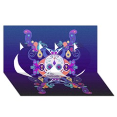 Día De Los Muertos Skull Ornaments Multicolored Twin Hearts 3d Greeting Card (8x4) by EDDArt