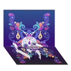 Día De Los Muertos Skull Ornaments Multicolored Love Bottom 3d Greeting Card (7x5) by EDDArt