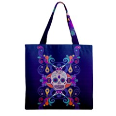 Día De Los Muertos Skull Ornaments Multicolored Zipper Grocery Tote Bag by EDDArt