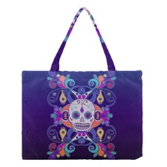 Día De Los Muertos Skull Ornaments Multicolored Medium Tote Bag by EDDArt