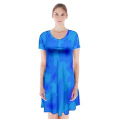 Simple Blue Short Sleeve V Neck Flare Dress by Valentinaart