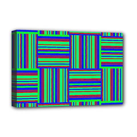 Fabric Pattern Design Cloth Stripe Deluxe Canvas 18  X 12   by AnjaniArt