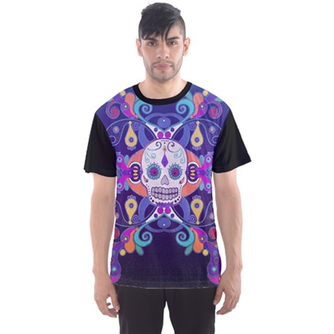 Día De Los Muertos Skull Ornaments Multicolored Men s Sport Mesh Tee by EDDArt