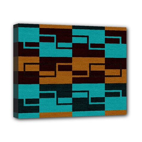 Fabric Textile Texture Gold Aqua Canvas 10  X 8  by AnjaniArt