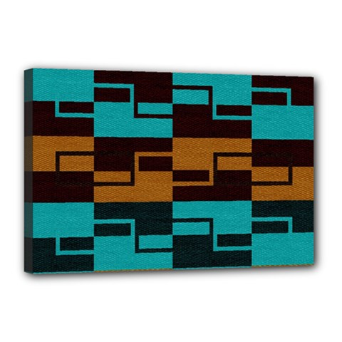 Fabric Textile Texture Gold Aqua Canvas 18  X 12  by AnjaniArt