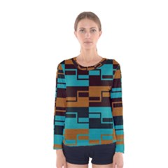 Fabric Textile Texture Gold Aqua Women s Long Sleeve Tee by AnjaniArt