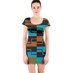 Fabric Textile Texture Gold Aqua Short Sleeve Bodycon Dress by AnjaniArt
