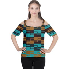 Fabric Textile Texture Gold Aqua Women s Cutout Shoulder Tee by AnjaniArt