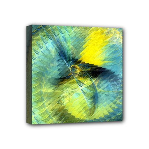 Light Blue Yellow Abstract Fractal Mini Canvas 4  X 4  by designworld65