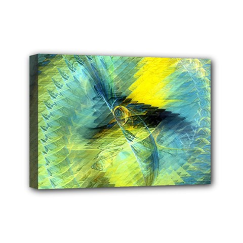 Light Blue Yellow Abstract Fractal Mini Canvas 7  X 5  by designworld65