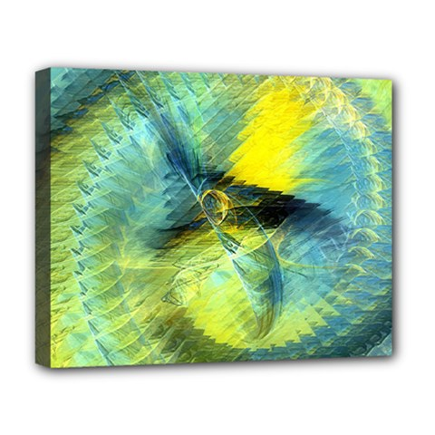 Light Blue Yellow Abstract Fractal Deluxe Canvas 20  X 16   by designworld65