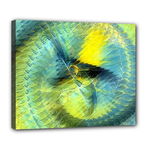 Light Blue Yellow Abstract Fractal Deluxe Canvas 24  X 20   by designworld65