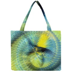 Light Blue Yellow Abstract Fractal Mini Tote Bag by designworld65