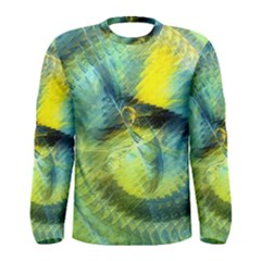 Light Blue Yellow Abstract Fractal Men s Long Sleeve Tee by designworld65