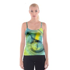 Light Blue Yellow Abstract Fractal Spaghetti Strap Top by designworld65