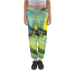 Light Blue Yellow Abstract Fractal Women s Jogger Sweatpants by designworld65