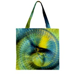 Light Blue Yellow Abstract Fractal Zipper Grocery Tote Bag by designworld65